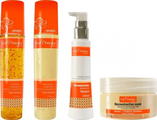 Kit Home Care Papaya + Creatina e Queratina Fruit Therapy Nano (4 produtos)